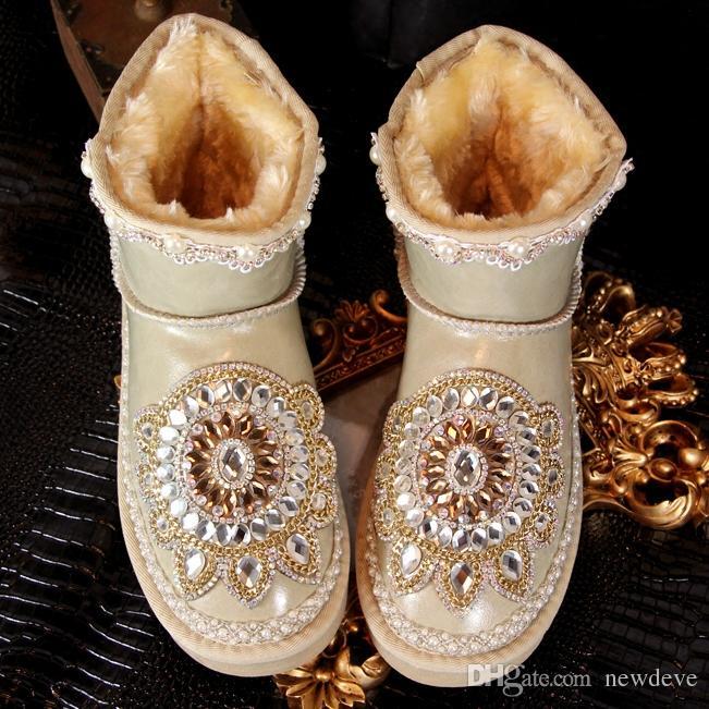 Винтаж Горный Хрусталь Bling Bling Свадебные Туфли Свадебная Обувь Для Женщин Кружева Лодыжки Сапоги Зима Теплая Одежда