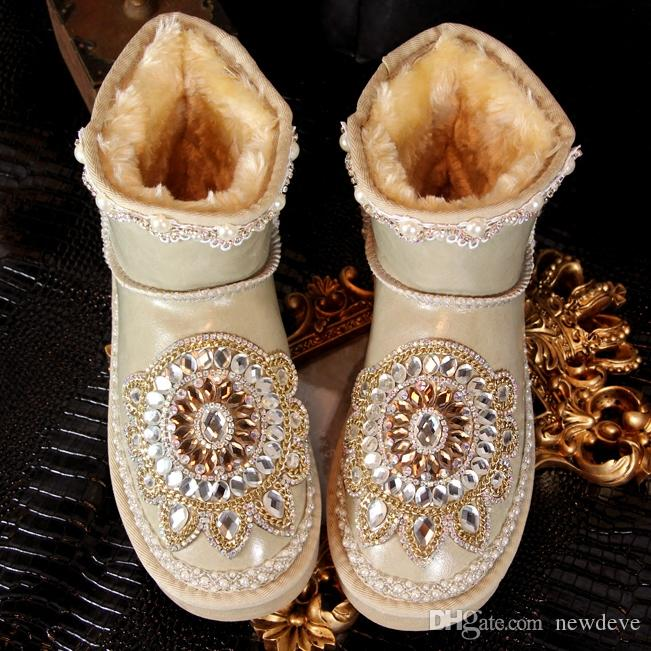 54f8688d0a8c Vintage Rhinestone Bling Bling Bridal Shoes Wedding Shoe For Women Lace  Ankle Length Boots Winter Warm Wear Bridal Shoes Wedding Shoes Rhinestone  Online ...