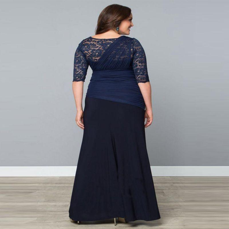 Más el tamaño de una línea de la madre de la novia vestidos de media manga de gasa de encaje mujeres del desfile de vestidos de fiesta trajes de novio largo