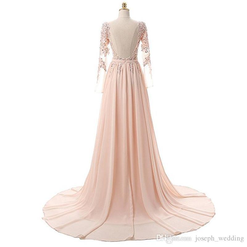 Evening Dress 2017 Robe De Soiree Longue Formal Occasion Dresses Long Sleeve Backless Evening Dress Made in China