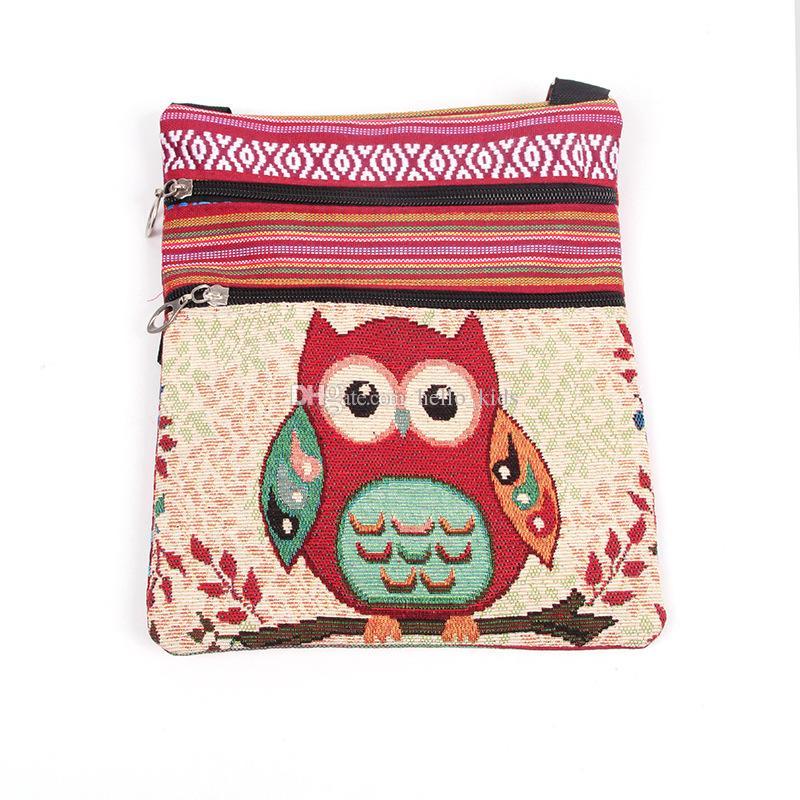 2017 New Fashion cute kids Embroidered Owl Messenger Bag girls Mini Shoulder Bag women Female Vintage Cute Phone Crossbody Post Bag