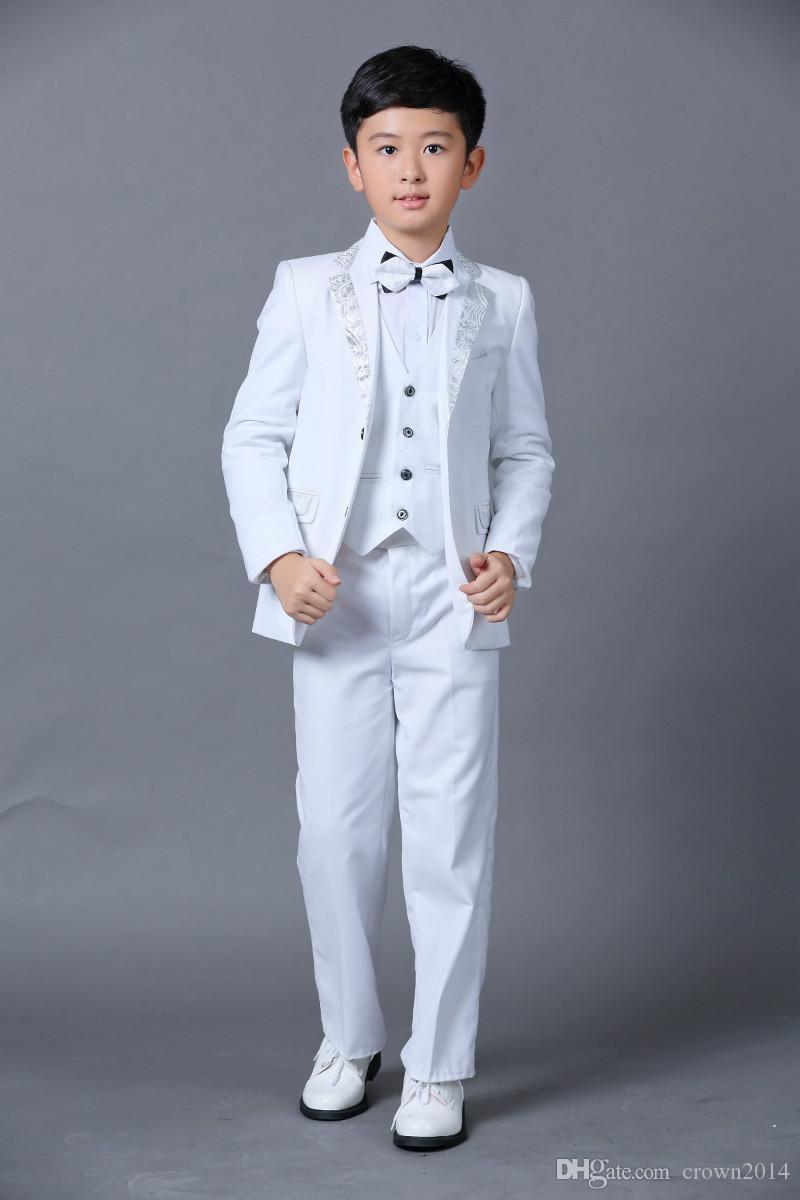 Boys Wedding Suits New Size 2-10 White Boy Suit Formal Party Five Sets Bow Tie Pants Vest Shirt Kids Suits In Stock