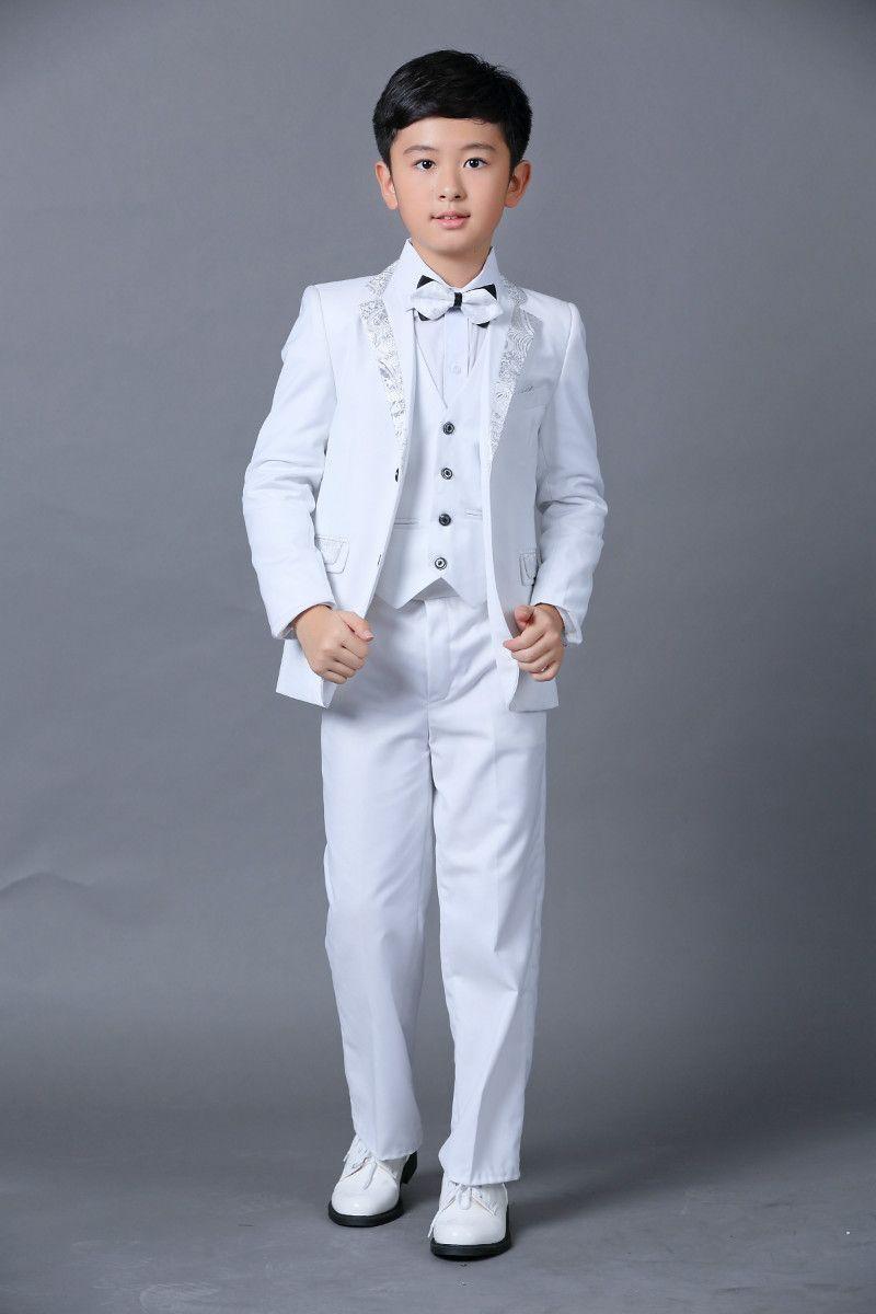 Boys Wedding Suits New Size 2-14 White Boy Suit Formal Party Five Sets Bow Tie Pants Vest Shirt Kids Suits In Stock