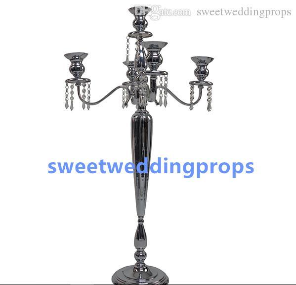 Yeni stil 5 arms güzel siyah zihinsel düğün şamdan masa dekoratif