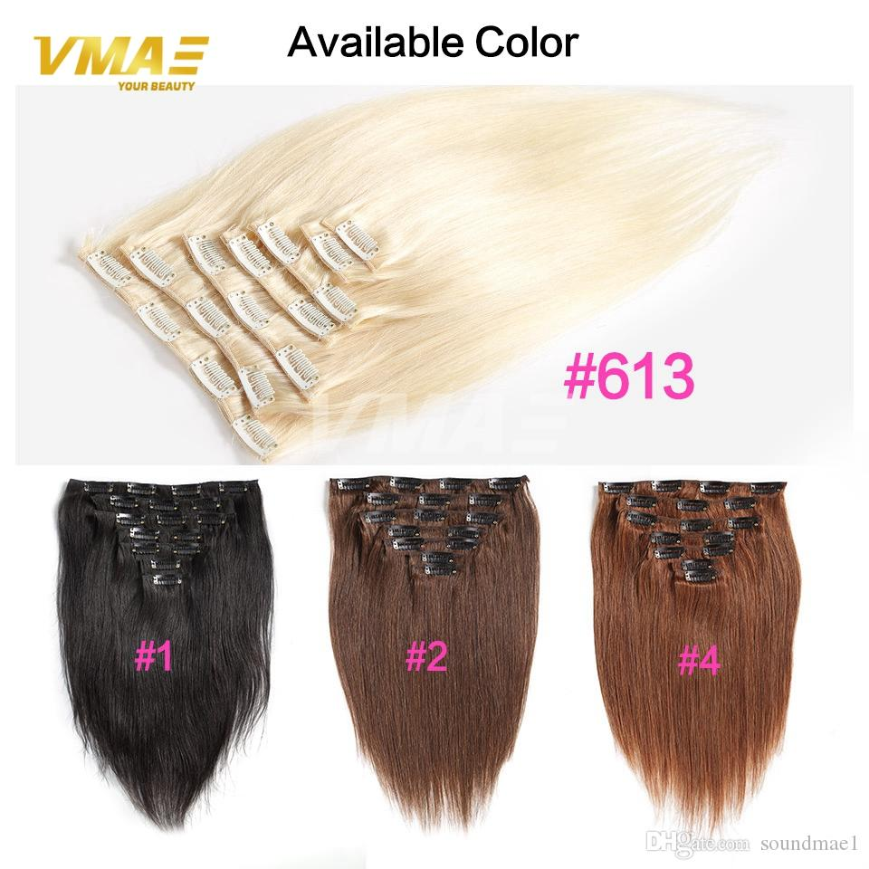 Vmae Clip In Human Hair Extensions Color Natural Black 613 Brazilian