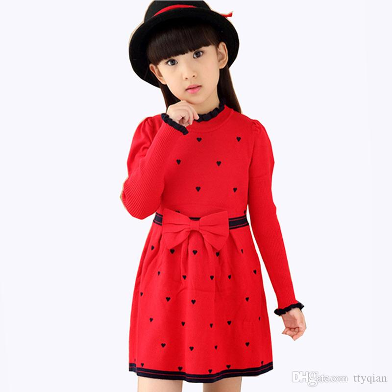 28123b7a1a0 2019 Kids Girls Autumn Winter Clothing Children Dots Knitted Sweater Dresses  For Girls Baby Long Sleeve Bow Princess Print Red Dress 4 12 Years From  Ttyqian ...