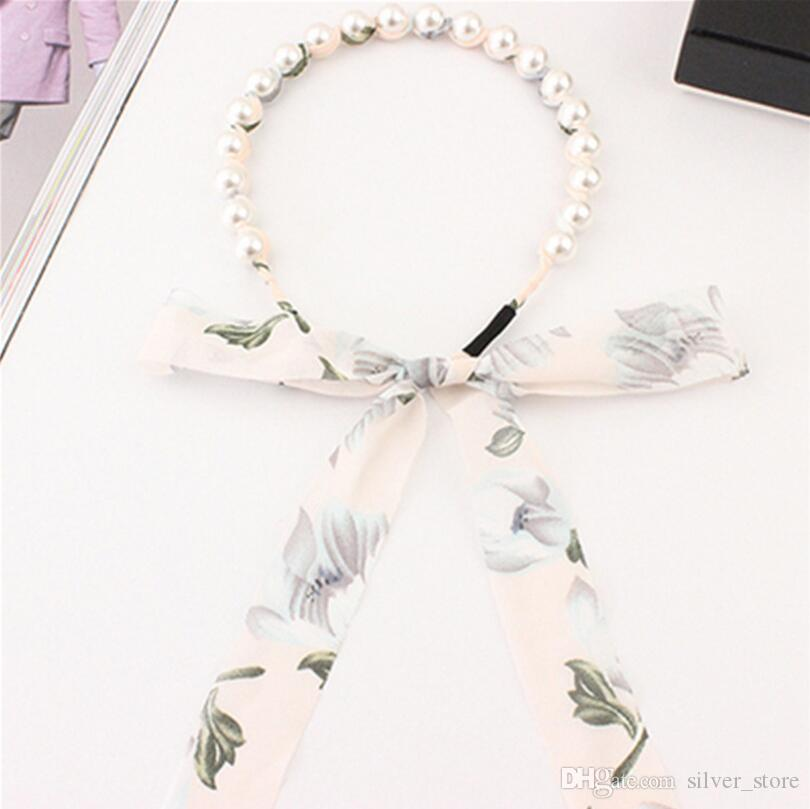 Vente chaude Bowknot cheveux cerceau perle mousseline de soie fleur tissu épingle à cheveux dame bande de cheveux TG198 mélanger l'ordre 30 pièces beaucoup