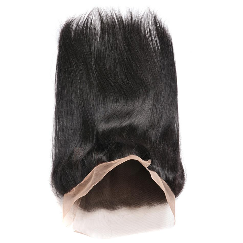 360 Tam Dantel Frontal Kapatma 22.5 * 4 * 2 Boyut Brezilyalı Perulu Malezya Hint Düz Bakire İnsan Saç Closures Öncesi Mızraplı Elastik Band