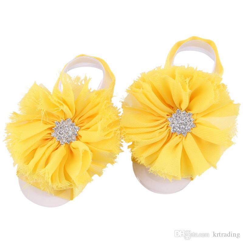 i bambino barefoot accessorio frange di chiffon strass neonati fiore del piede del fiore puntelli della foto simpatici accessorio del partito