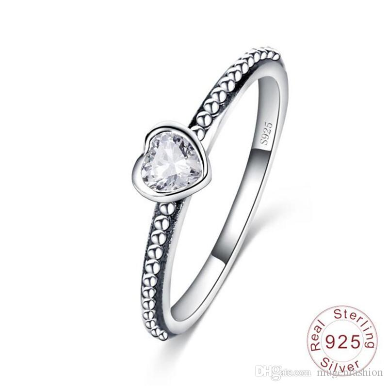 2018 new fashion lovers 925 sterling silver wedding rings heart cubic zirconia diamond engagement ring jewelry dropshipping from mugenfashion - Sterling Silver Wedding Ring