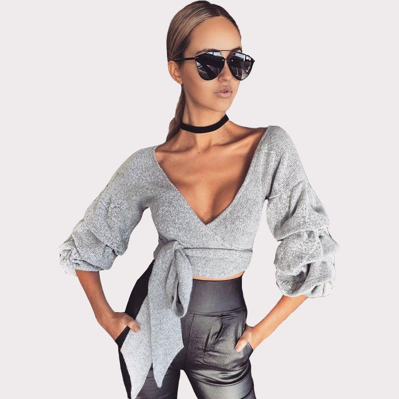 b01fbc0a78f8f 2019 Ladies Knit Crop Top Blouse V Neck Long Lantern Sleeve Self Tie Short  Blouse Sexy Autumn Spring Skinny Knitwear Shirt Clubwear DYG0909 From  Hhwq105