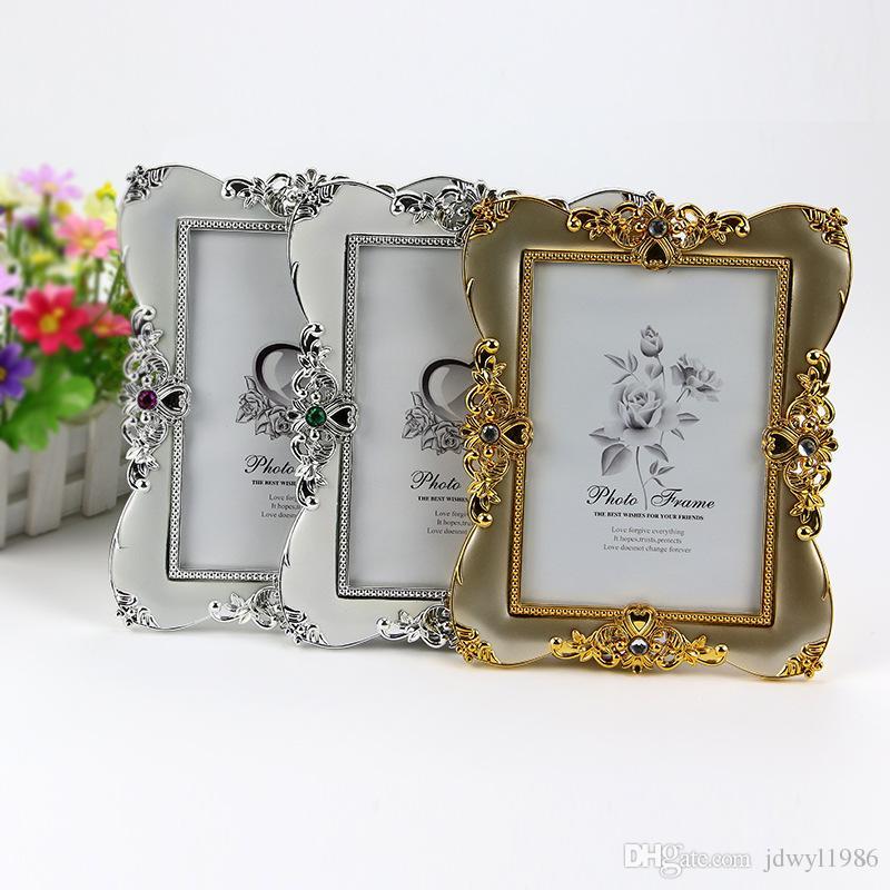Ouro antigo e moldura de prata para Picture Plastic Photo Frame Pintura Wedding Album DIY Decoração festa de casamento de layout Props