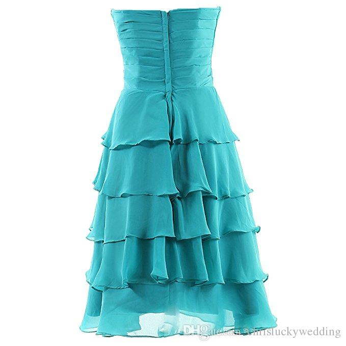 Chiffon Blue/Gray Sweetheart Bridesmaid Chiffon Prom Dresses Evening Wear Gowns Wedding Guest Dress Custom Made