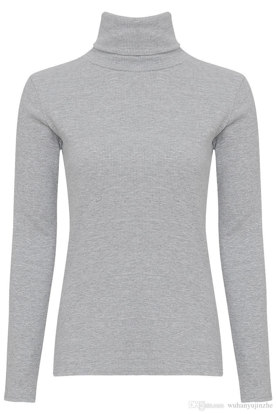 YENI Bayan Bayanlar Nervürlü Pamuk Bluzlar Rulo Yüksek Boyun Polo Kaplumbağa Üst Jumper Tam Kollu Gömlek CL177