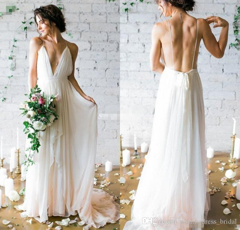 Jieruize White Simple Backless Wedding Dresses 2019 Ball: Discount Boho Wedding Dress 2019 Newest Sexy Backless