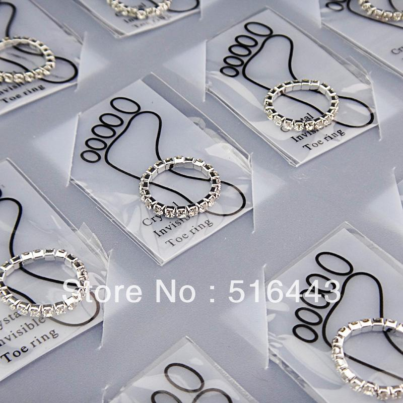 12pcs Wholesale Jewelry Lots Full Clear Czech Rhinestones Fashion Stretchy Toe Rings for Womens A-809