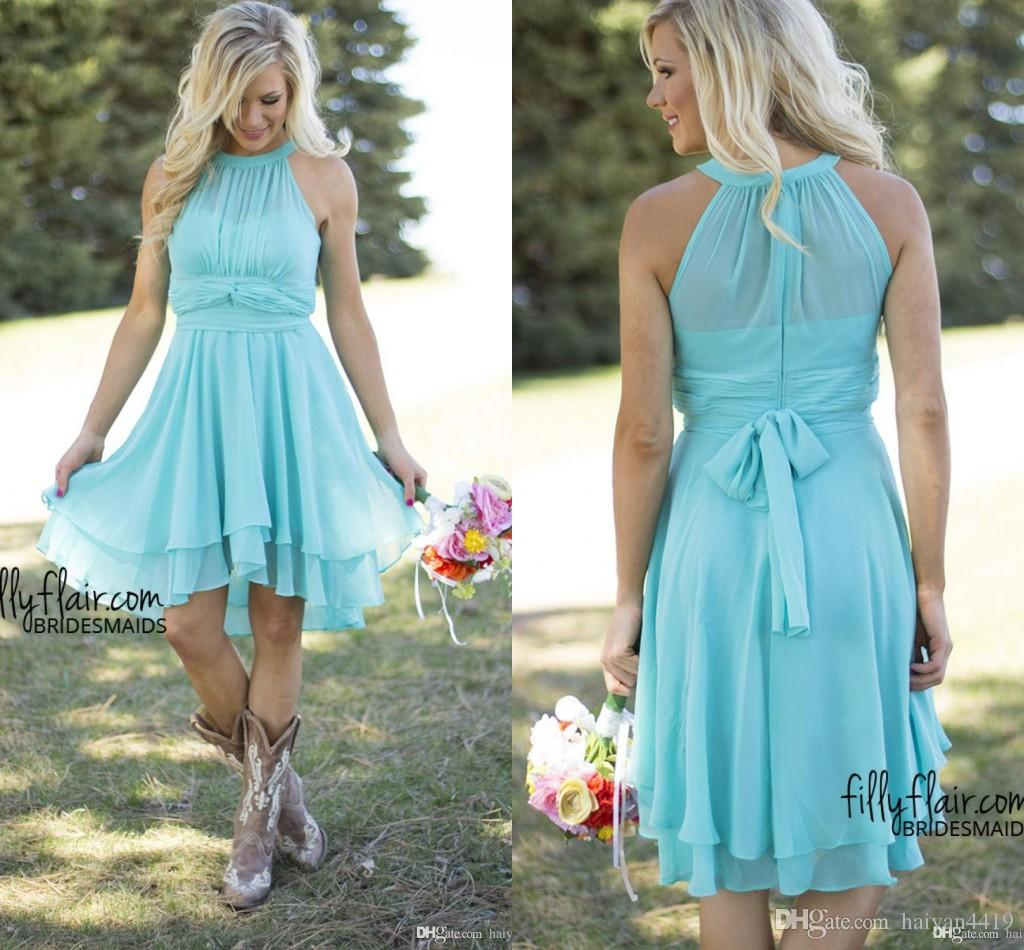 2017 new light blue country bridesmaid dresses short cheap for Baby blue wedding guest dress