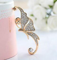 не Серьги Кристалла бабочка серьга Полные Алмазного Elf ухо манжета Нет пронзил ухо клипа висячей Моды ювелирных изделий уха манжеты рождественские подарки