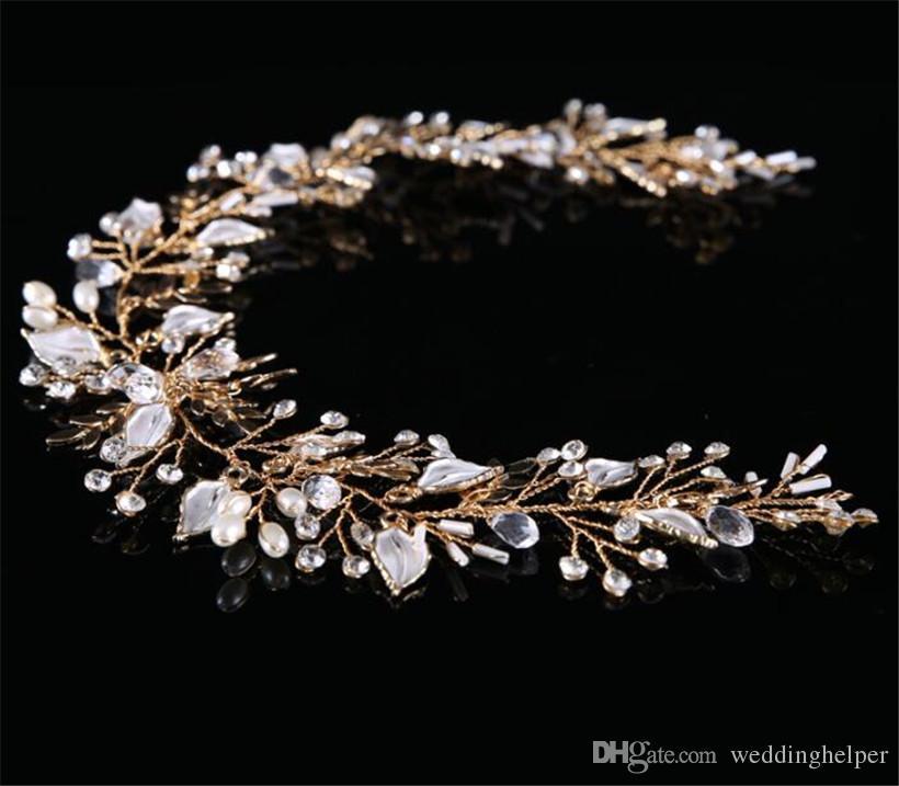 Vintage De Mariage Nuptiale Cristal Bandeau Ruban Strass Couronne Tiara Bande De Cheveux Bijoux Feuille D'or Perle Accessoires De Cheveux Coiffe Pièce