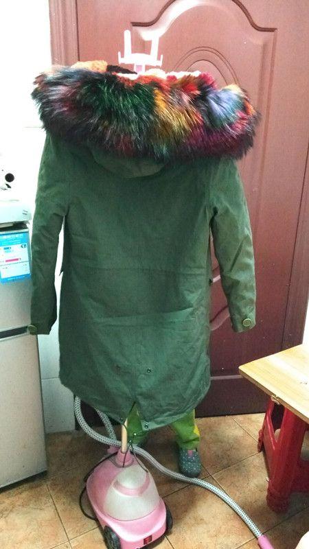 Immagini Jazzevar Immagini live Pelliccia ecologica arcobaleno giacche 100% pelliccia di coniglio multicolore foderato lungo parka da neve verde militare con cappotti di tela