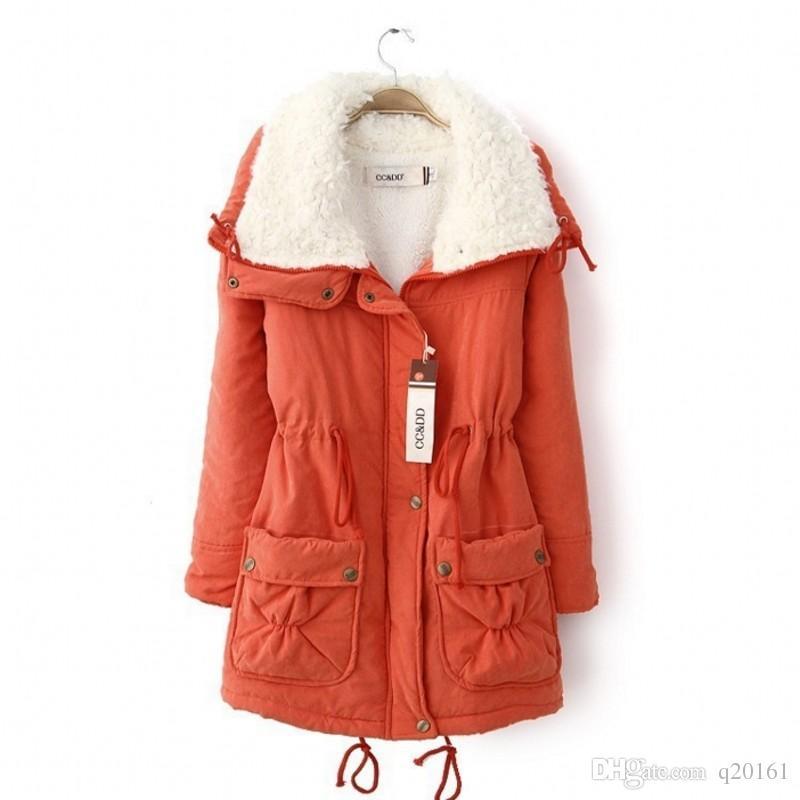 2016 Güney Kore Tarzı Kış Son Moda Kadın Coat Zarif Saf renk Kalın Pamuk-yastıklı Giyim Kuzular Yün Büyük metre Coat