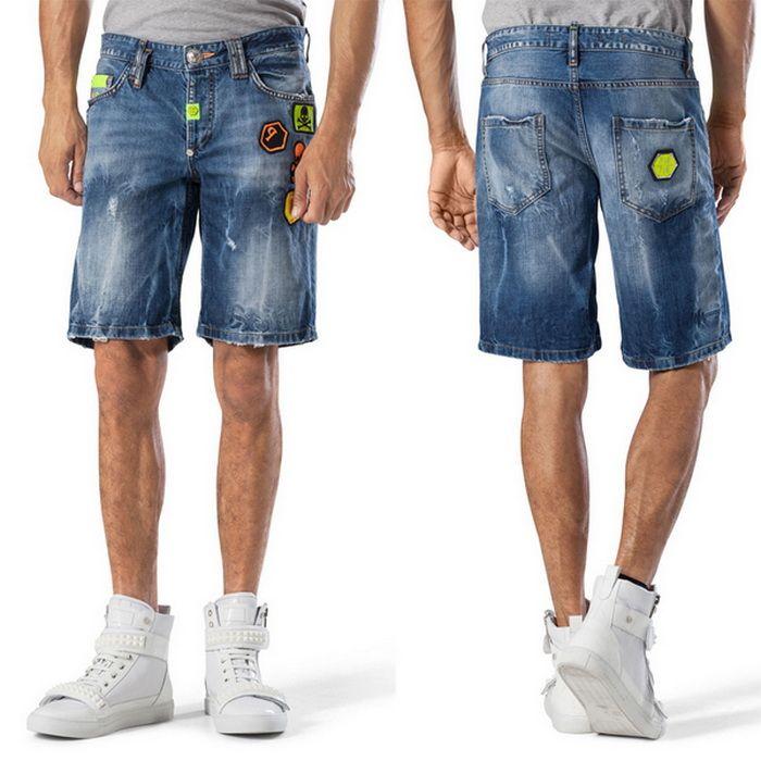 2017 Mens Denim Shorts Slim Regular Casual Knee Length Short Hole ...