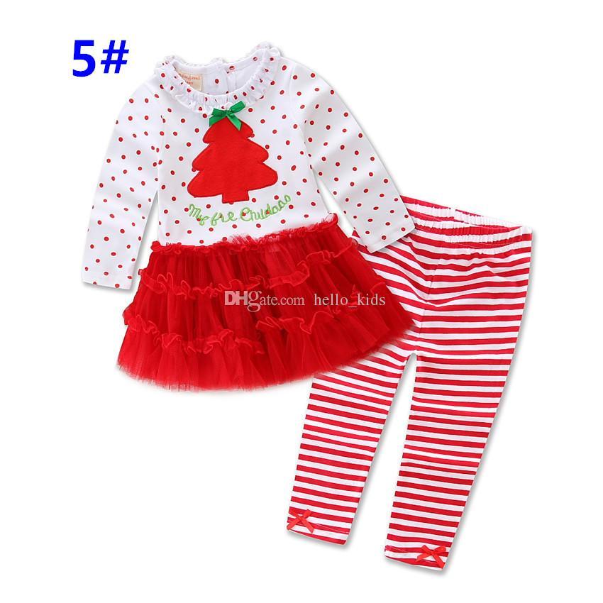 Девушки Новогодние наряды 2017 Санта с длинным рукавом + брюки Ruffle 2 Бюстье infantis Рождество пижамы Установить Cute Baby Детская одежда Homewear