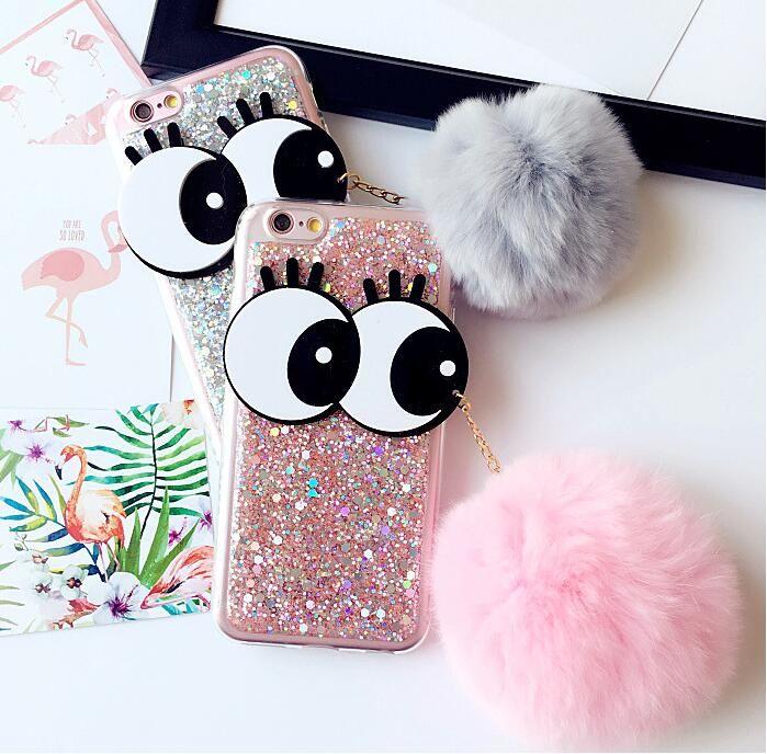 Ip 7 Eye Rabbit Fur Pompom Fluffy Ball Phone Cases For