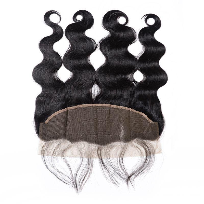 Peruanische Jungfrau-Haar-Spitze-Stirn Closure Königin Haare Artikel 7A Körper-Wellen-13x4 Mit Baby-Haare Menschliches Schliessen Lace Frontal