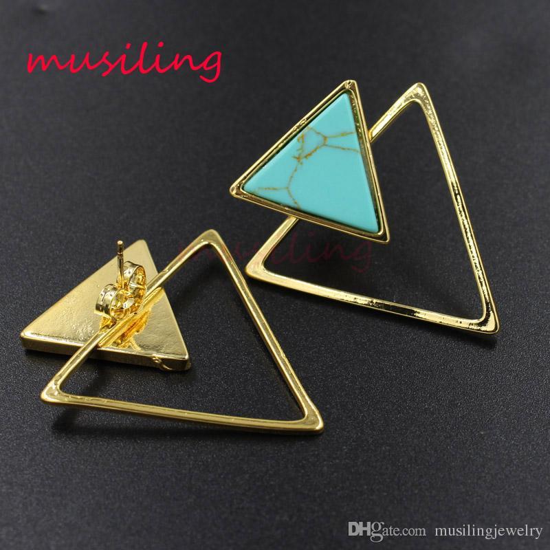 Earring Stud Triangle Ear Stud Natural Gem Stone Jewelry Ear Clip Earrings Women's Jewelry Amethyst Opal Onyx Lapis Lazuli etc Stone