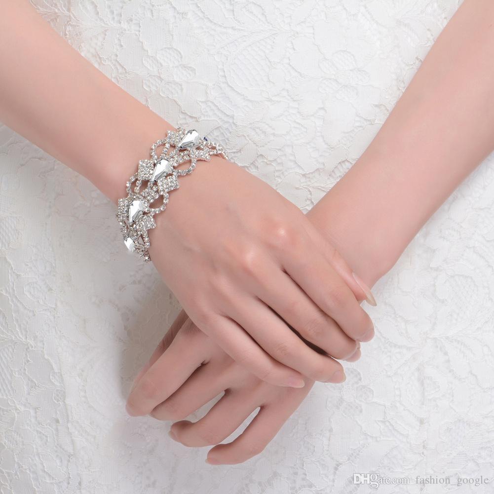 Brazaletes de novia de cristales Pulsera de novia de Bling Bling con diamantes de imitación azules Puños de novia de plata negro
