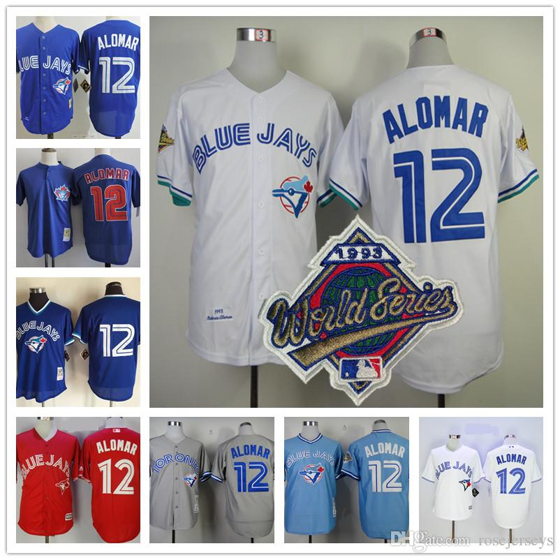competitive price 7ba08 02c3f Toronto Blue Jays 1993 World Series Jersey #12 Roberto Alomar white gray  road royal blue Cooperstown Mesh BP Throwback Stitched Mens Jerseys