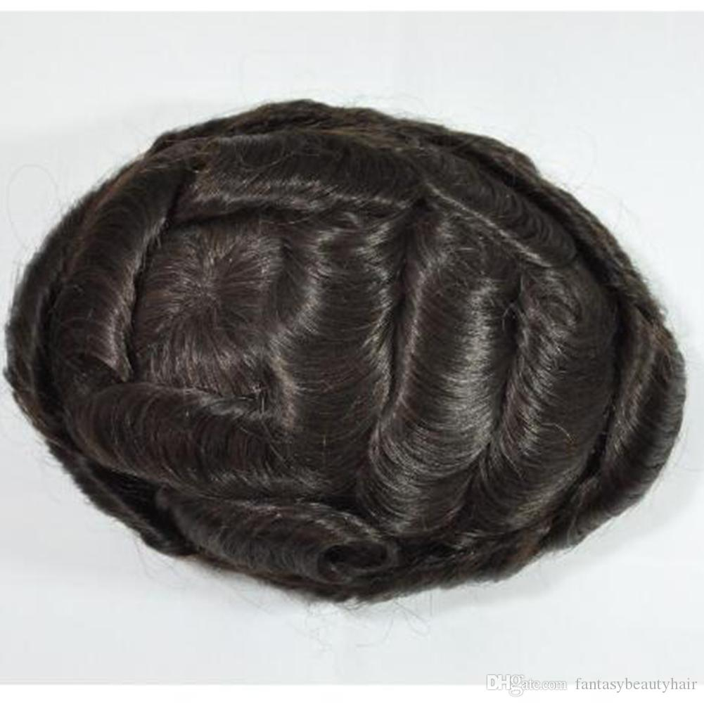 """Thin skin toupee 8""""x10"""" human hair men wig Replacement system remy Hair Prost hairpieces hair replacement men toupee"""