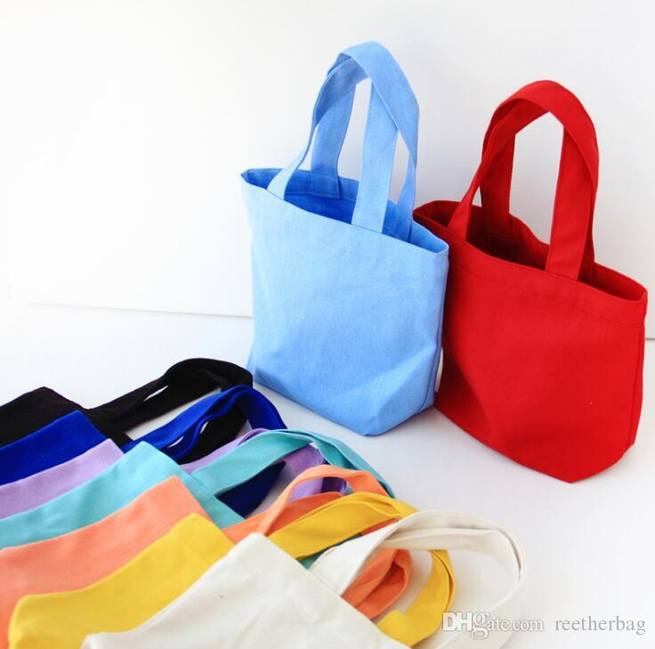 8a9ecb346 Solid Color Lunch Bag Small Canvas Tote Bag Women Makeup Handbag Office  Lunch Box Bag Cosmetics Toiletry Storage Handbag Fashion Bags Wholesale Bags  From ...