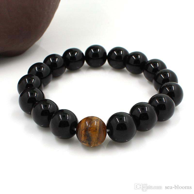 3 Size Perfume Bracelet Black Mens Matte Agate Gems 8MM 10MM 12MM Beads Stretch Good Luck Yoga Bracelet Christmas Gift B340S