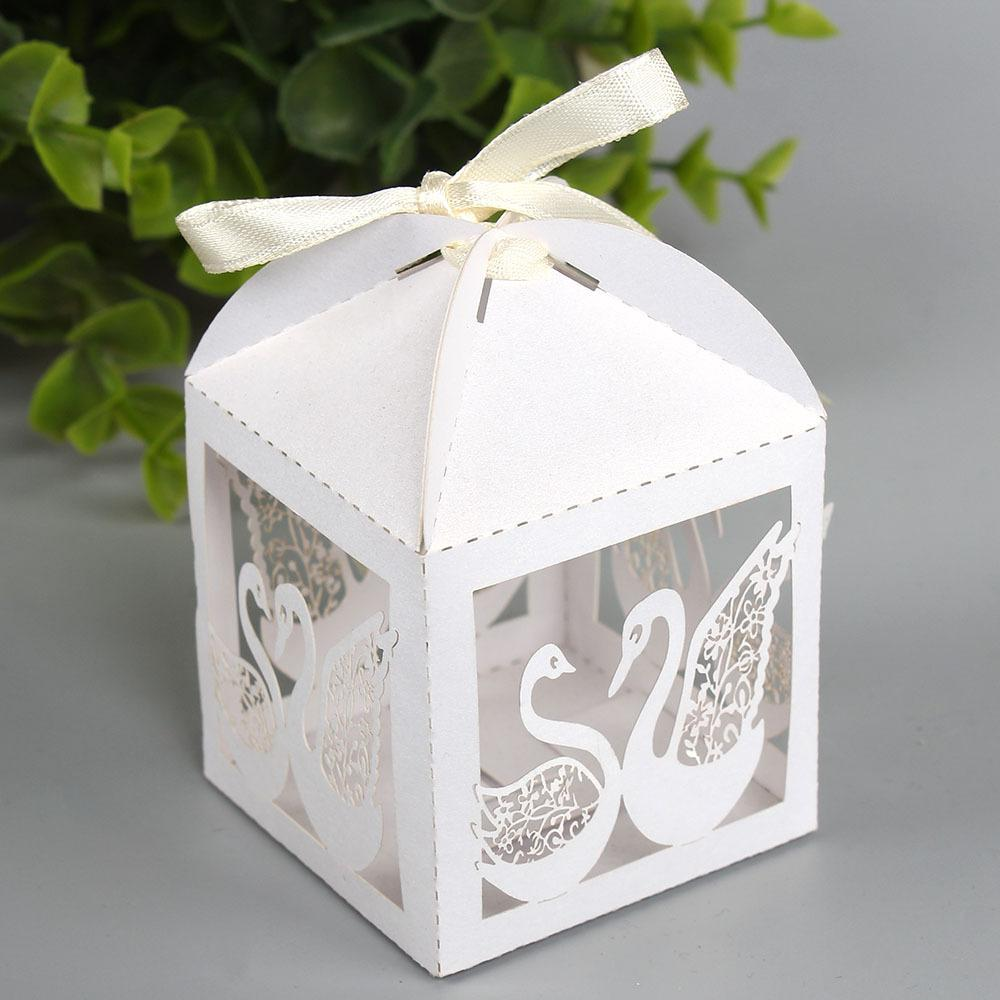 Wholesale Hollow Laser Swan Candy Box Gift Boxes Wedding Party Favor ...