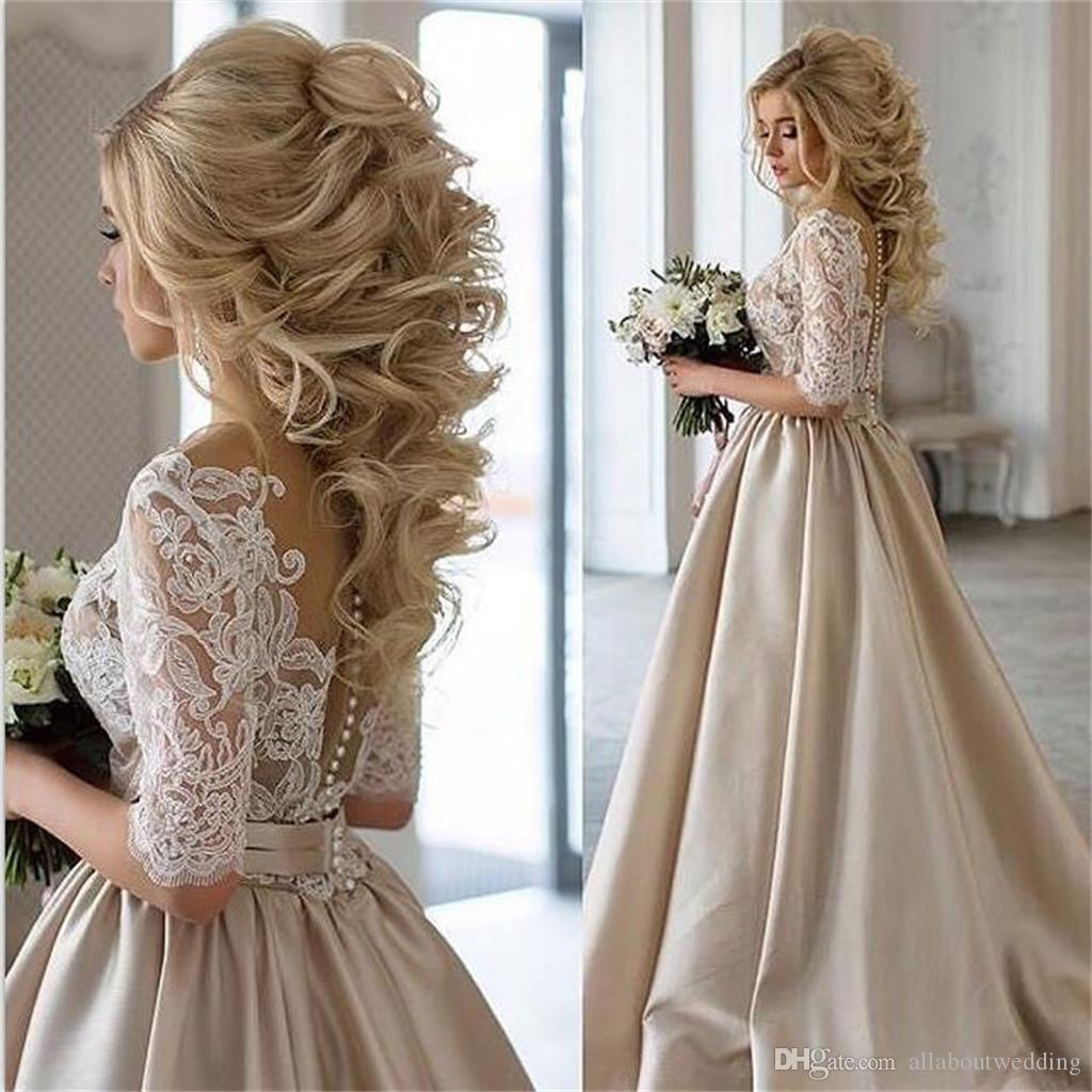 Half Sleeve Champagne Satin Ball Gown Wedding Dress Lace Top V