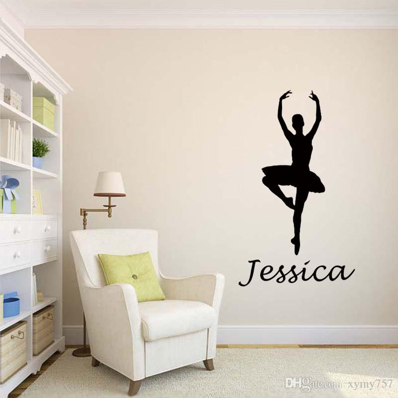 New Product For Personalised Name Ballerina Removable Wall Art Girls Kids Bedroom Custom Vinyl Sticker Diy Decor