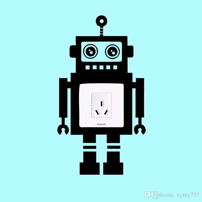 2017 Hot Sale Personality Robot Love Banksy Light Switch Wall Vinyl Decals Sticker Funny Home Art Vinyl Decor Creative