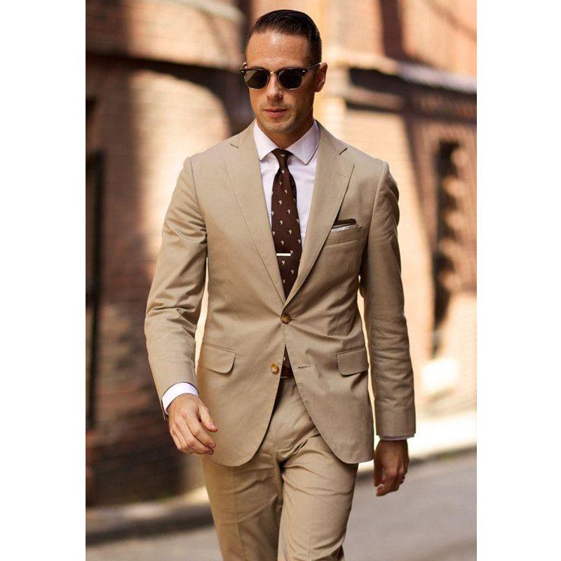 2018 Summer Beige Formal Mens Suits Notched Lapel Tuxedos Mens ...
