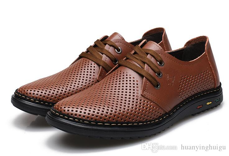 New style groom dress shoes men cool leather shoes Hollow out breathable lace-up sandals Dad driving shoes LX64
