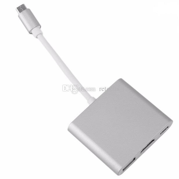 3in1 Tip-C HDMI USB-C Dijital Multiport Adaptörü 4 K Kadın Macbook 2 Port USB 3.0 HUB için USB-C OTG Şarj