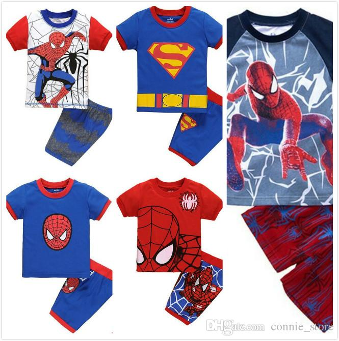 ebd6c677fcf 2019 HOT 5Design Boys Spiderman Pajamas Suits Children Avengers Captain  America Iron Man Short Sleeve T Shirt+ Shorts Suit Holiday GiftJC139 From  ...