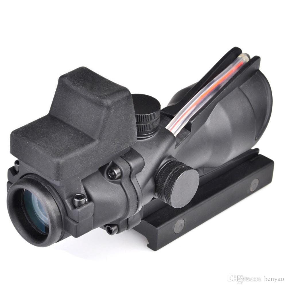 2017 NUEVO Trijicon ACOG 4X32 Estilo Real Red Fiber Source Duelo Iluminado Rifle Scope Sight Con Mini Red Dot Sight para Caza
