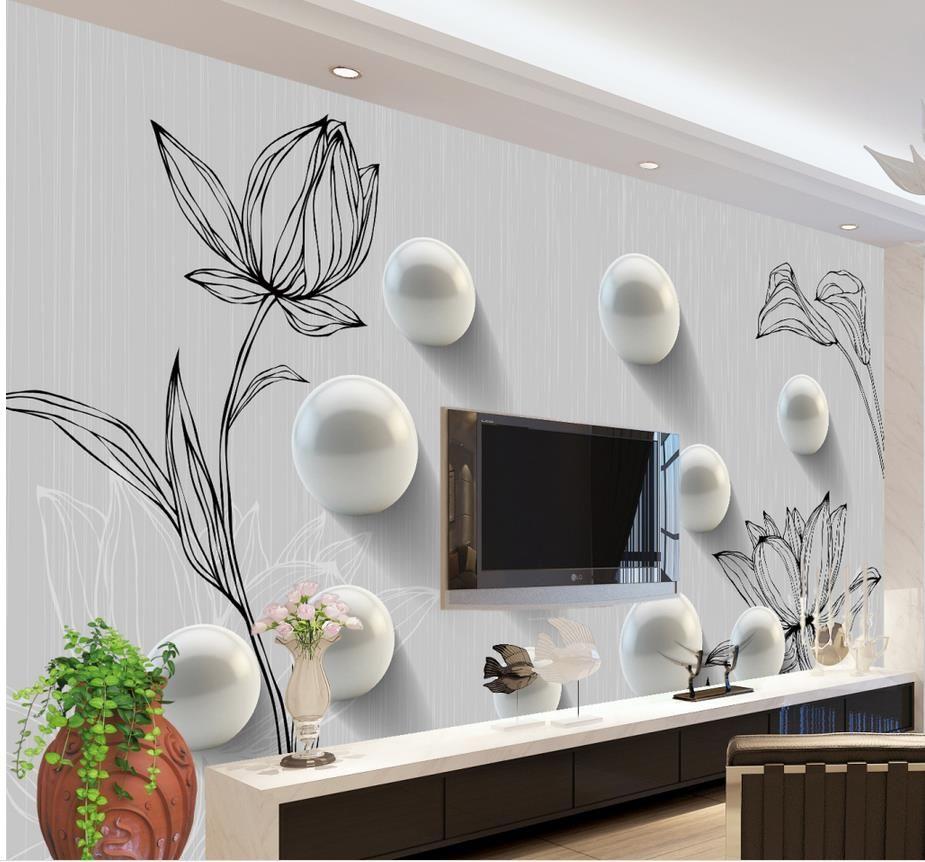 Personalizado cualquier tamaño 3D ronda pintado a mano patrón de la moda mural mural 3d papel tapiz 3d papeles de pared para el telón de fondo de la televisión