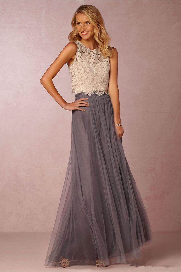 Vintage 2021 två stycken brudtärna klänningar spets topp tulle kjol lång burgundy prom klänningar junior bröllopsfest klänningar anpassad billigt