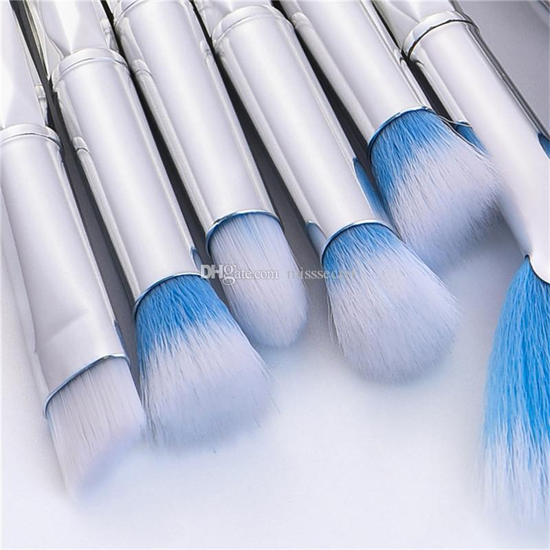 Mermaid Makyaj Fırçalar Set 10 adet Profesyonel Makup Fırça Göz Farı Allık Toz Iplik Karıştırma Kozmetik Memaid Sacre Fırça Kiti DHL ücretsiz