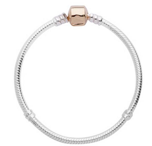 100% Silver Sterling Silver Rose Gold Barrel Clip Bracelet Fit Original Pandora Bracelet Bangle or Chamilia Bead Charms Solid Silver