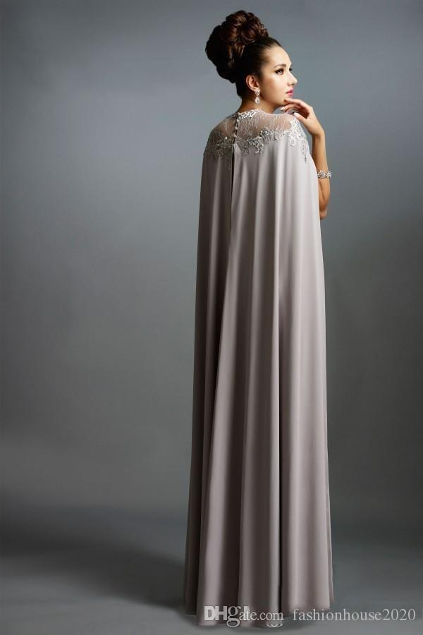 Cheap Real Image 2017 Long Mermaid Evening Dresses With Cape Illusion Neck Lace Mother of the Bride Dresses Long Formal Party Prom Gowns