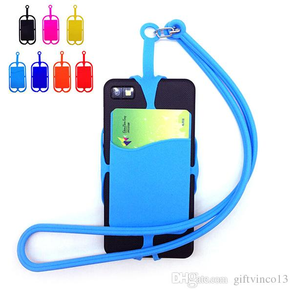 Silicone Lanyard Card Slot with Phone Holder Wallet Universal Case Cover Holder Sling Necklace Wrist Strap for Mobile Phone